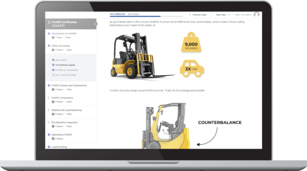 Online safety and training forklift course