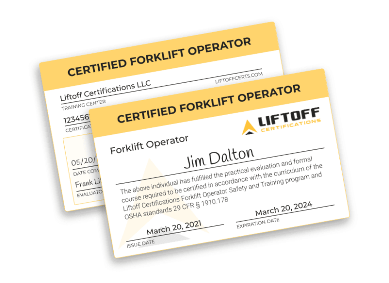 Liftoff Certifications certification cards